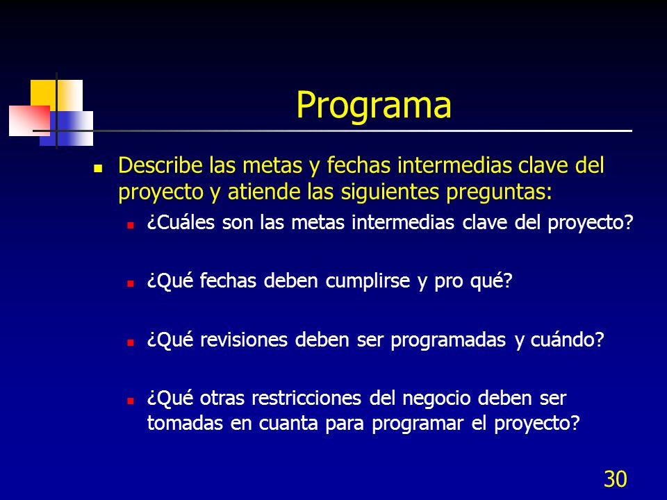 Programa Describe las metas y fechas intermedias clave del proyecto y atiende las siguientes preguntas: