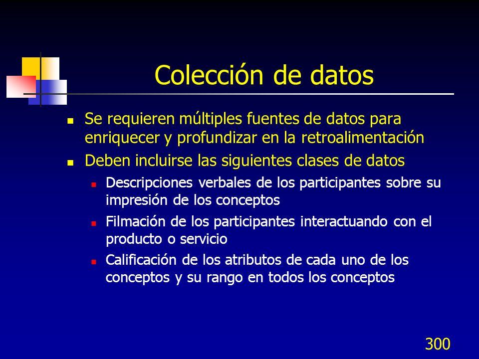 Colección de datos Se requieren múltiples fuentes de datos para enriquecer y profundizar en la retroalimentación.