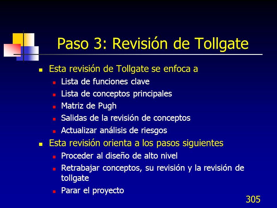 Paso 3: Revisión de Tollgate