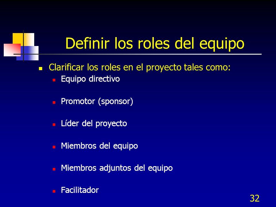 Definir los roles del equipo