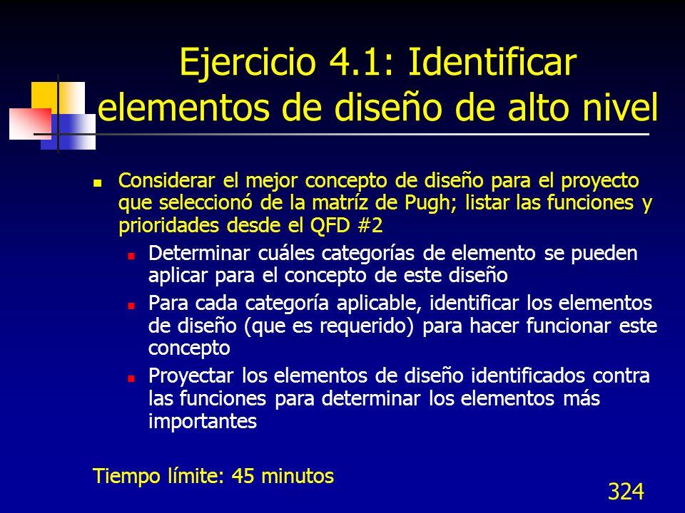Ejercicio 4.1: Identificar elementos de diseño de alto nivel
