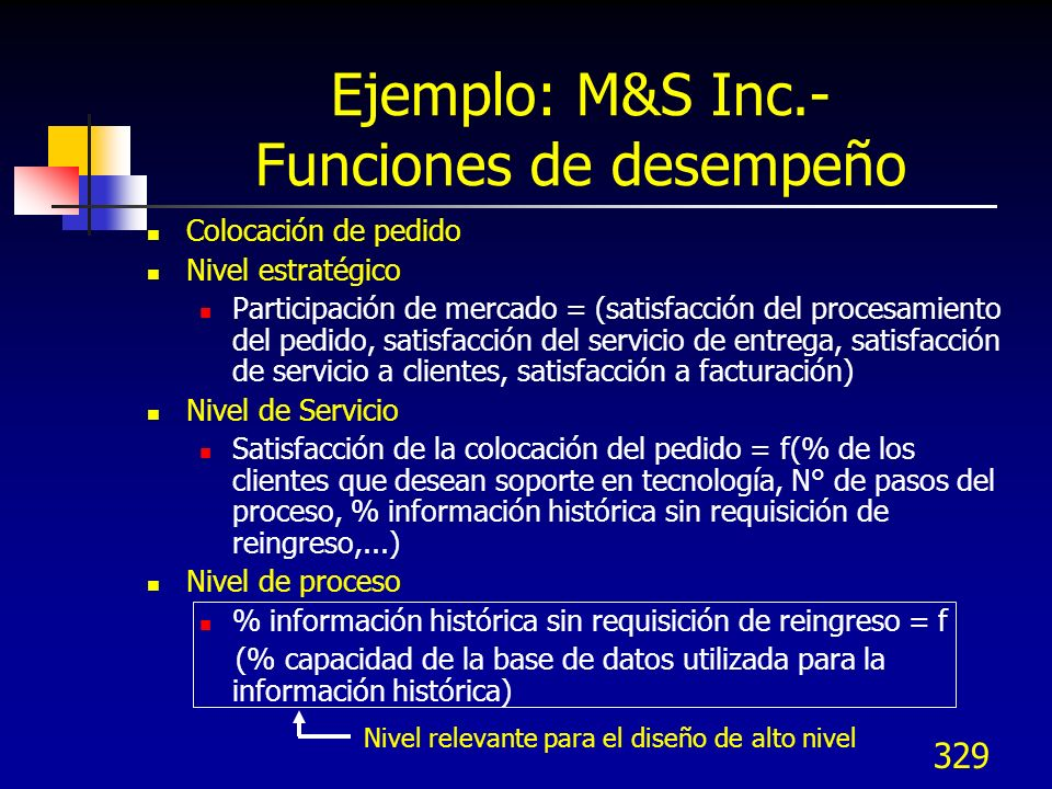 Ejemplo: M&S Inc.- Funciones de desempeño