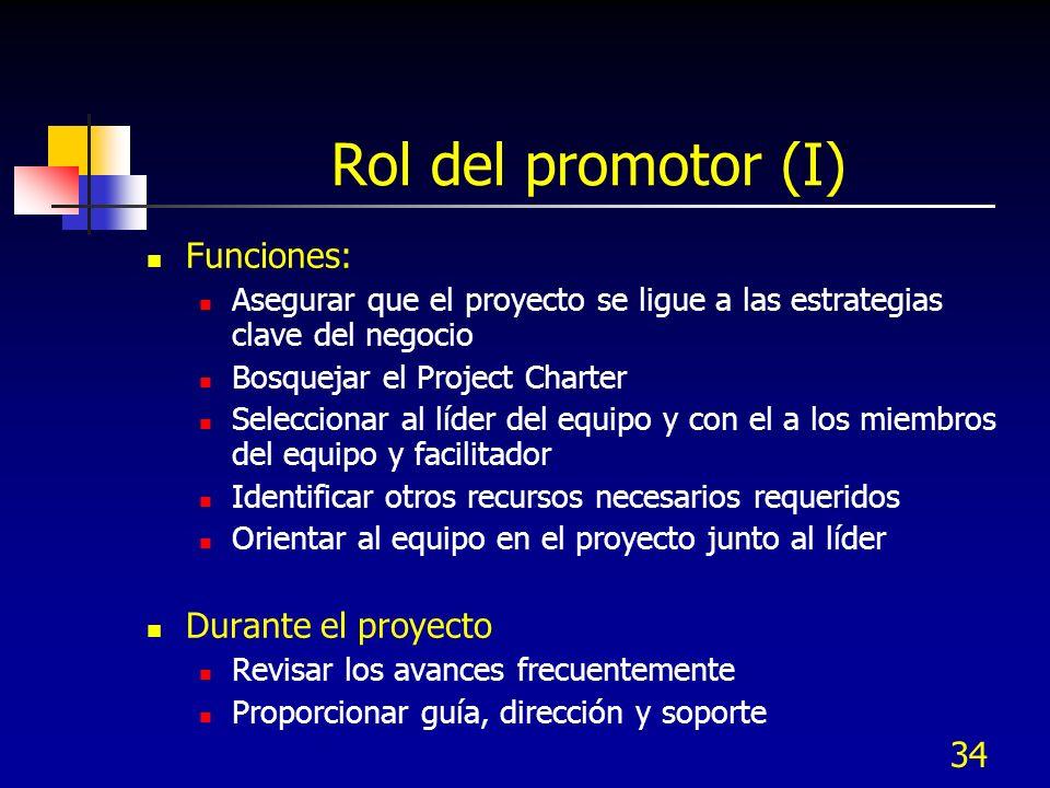Rol del promotor (I) Funciones: Durante el proyecto