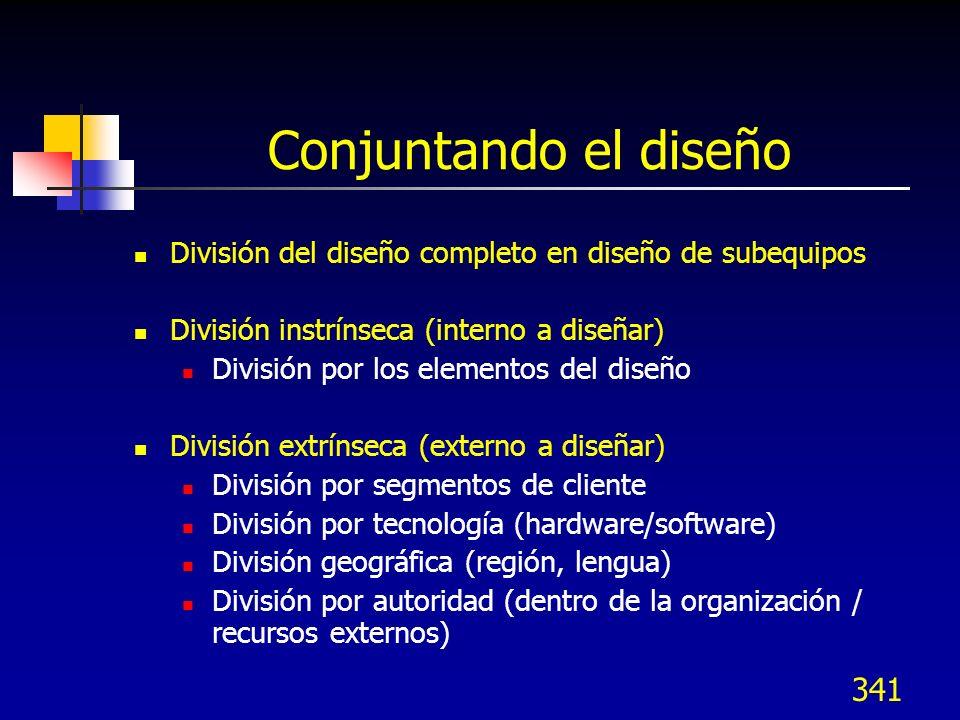 Conjuntando el diseño División del diseño completo en diseño de subequipos. División instrínseca (interno a diseñar)