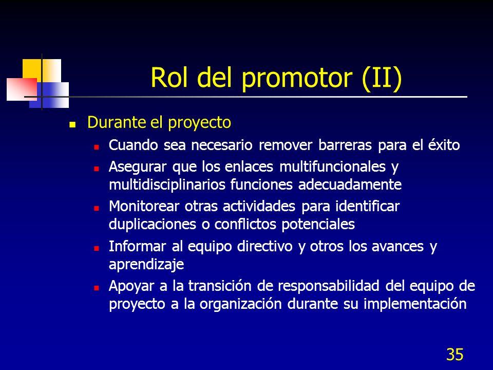 Rol del promotor (II) Durante el proyecto
