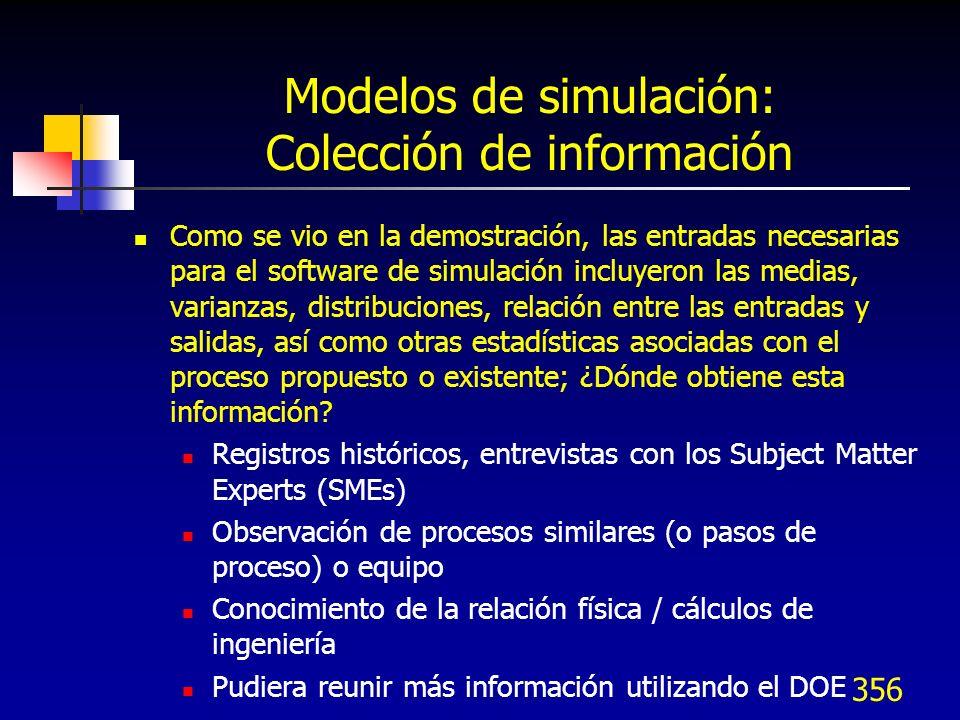 Modelos de simulación: Colección de información