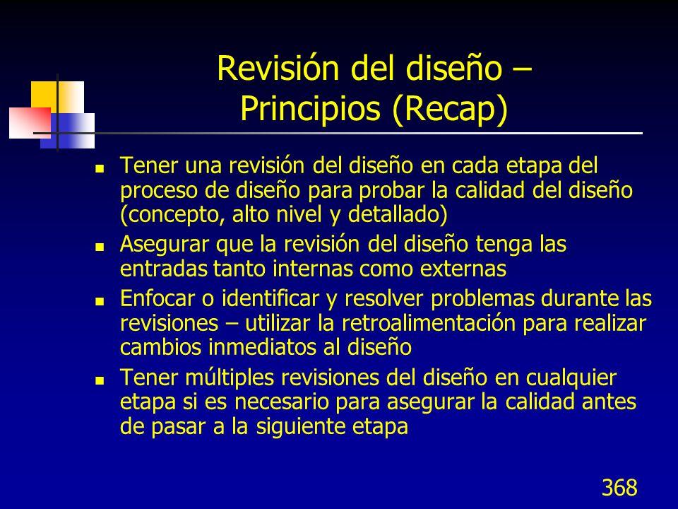 Revisión del diseño – Principios (Recap)