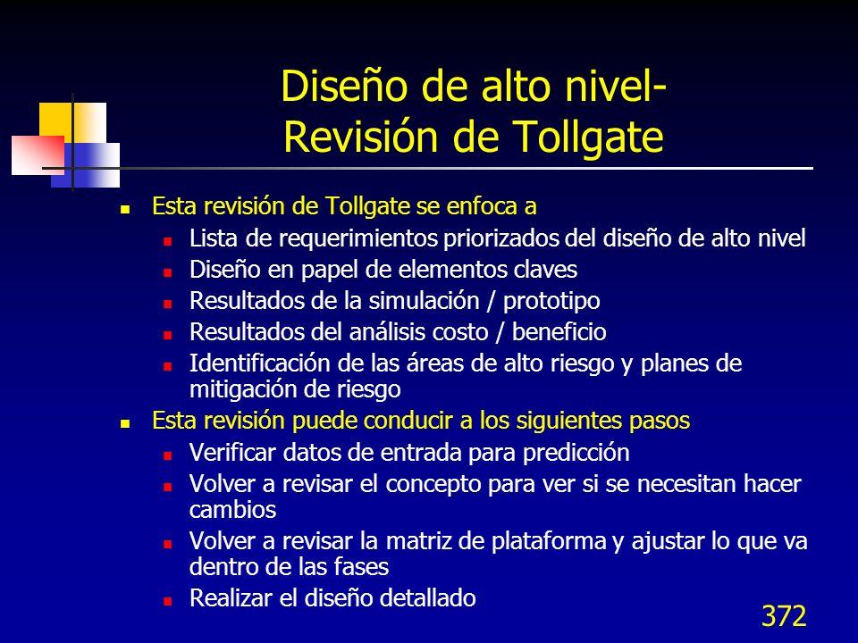 Diseño de alto nivel- Revisión de Tollgate