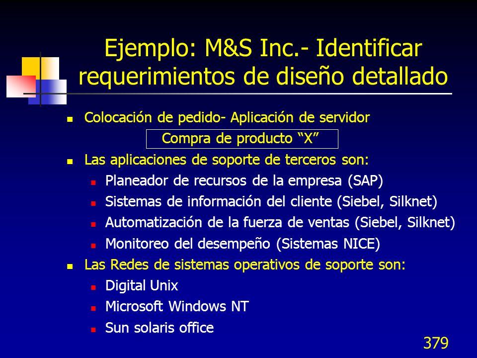 Ejemplo: M&S Inc.- Identificar requerimientos de diseño detallado