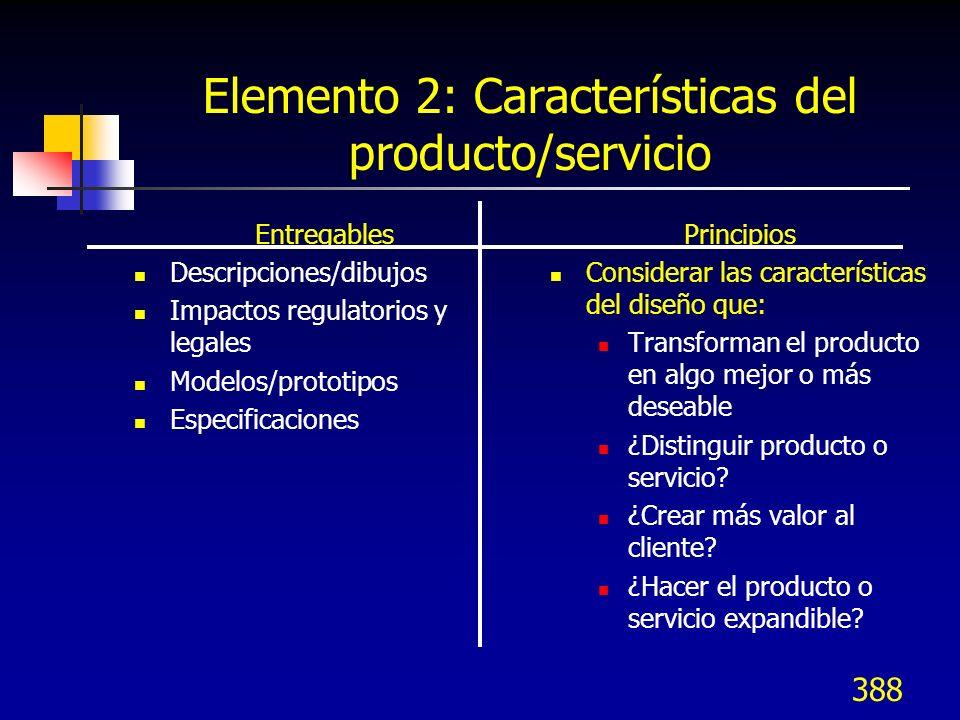 Elemento 2: Características del producto/servicio