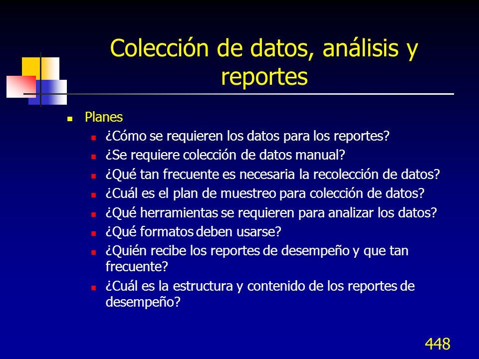 Colección de datos, análisis y reportes