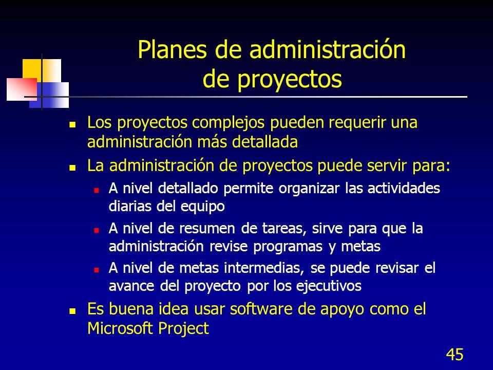 Planes de administración de proyectos