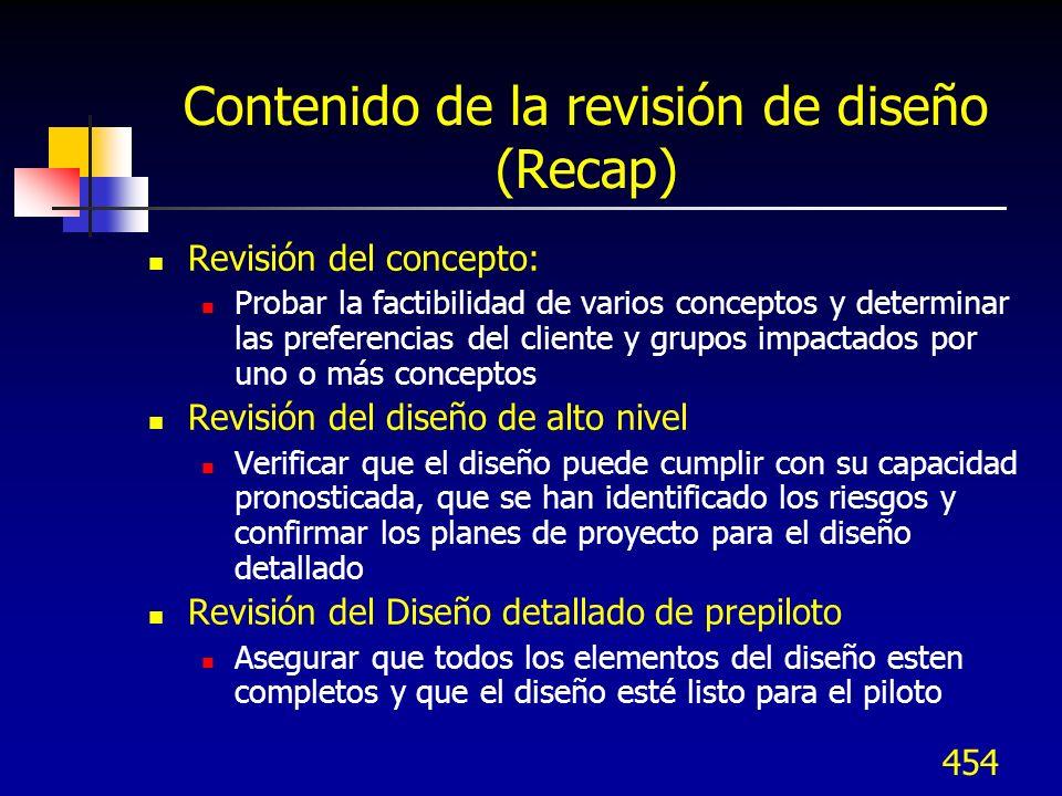 Contenido de la revisión de diseño (Recap)