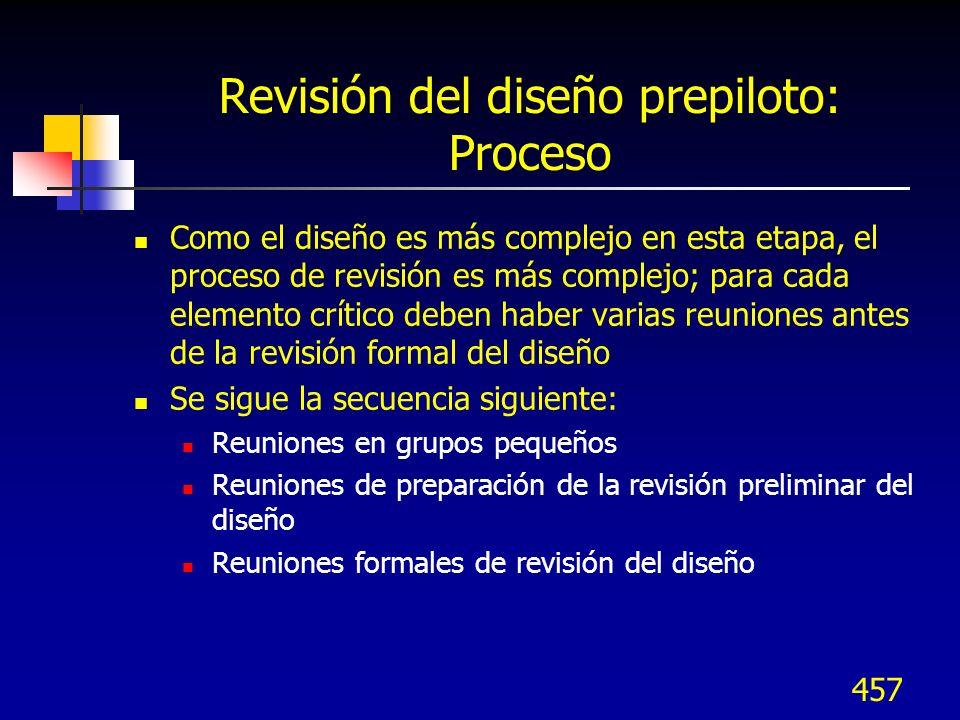 Revisión del diseño prepiloto: Proceso