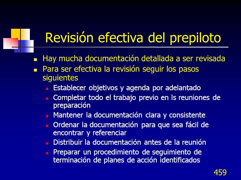 Revisión efectiva del prepiloto