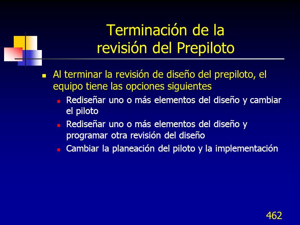 Terminación de la revisión del Prepiloto