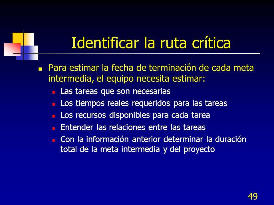 Identificar la ruta crítica
