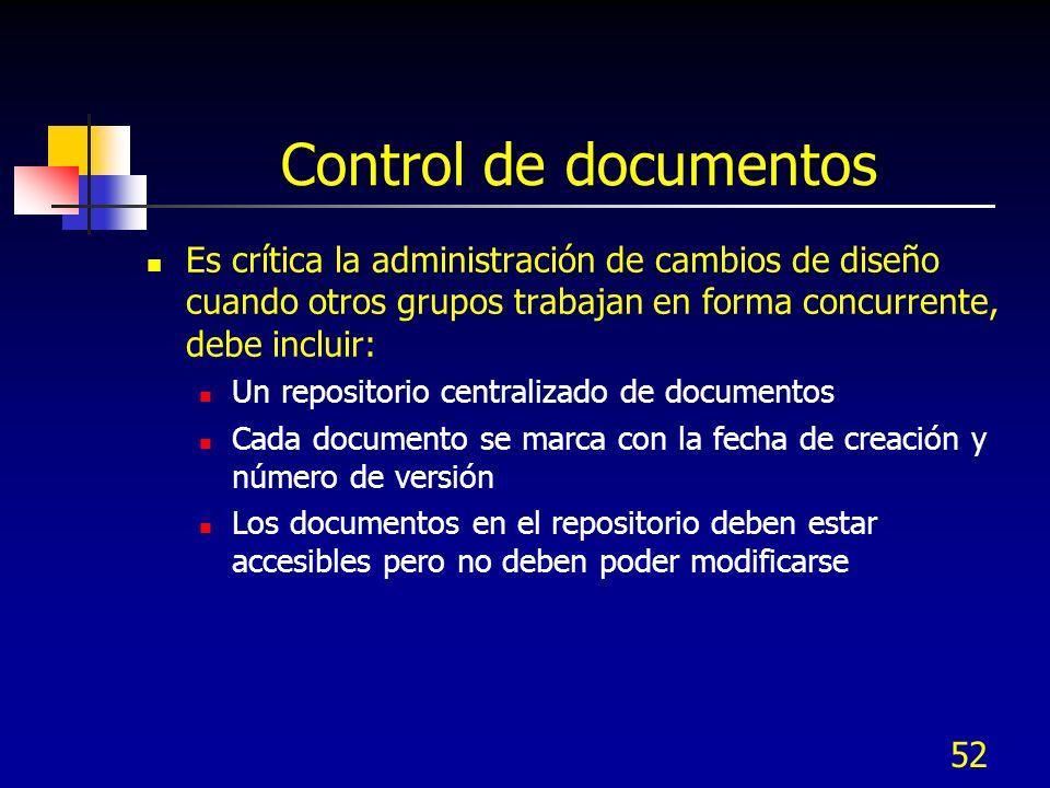Control de documentos Es crítica la administración de cambios de diseño cuando otros grupos trabajan en forma concurrente, debe incluir:
