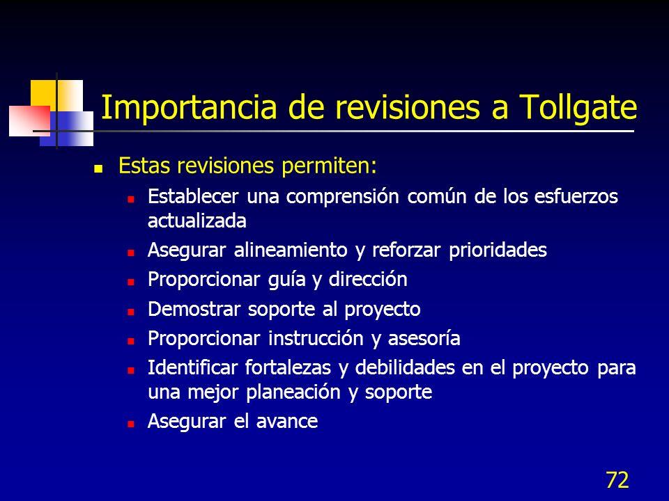 Importancia de revisiones a Tollgate