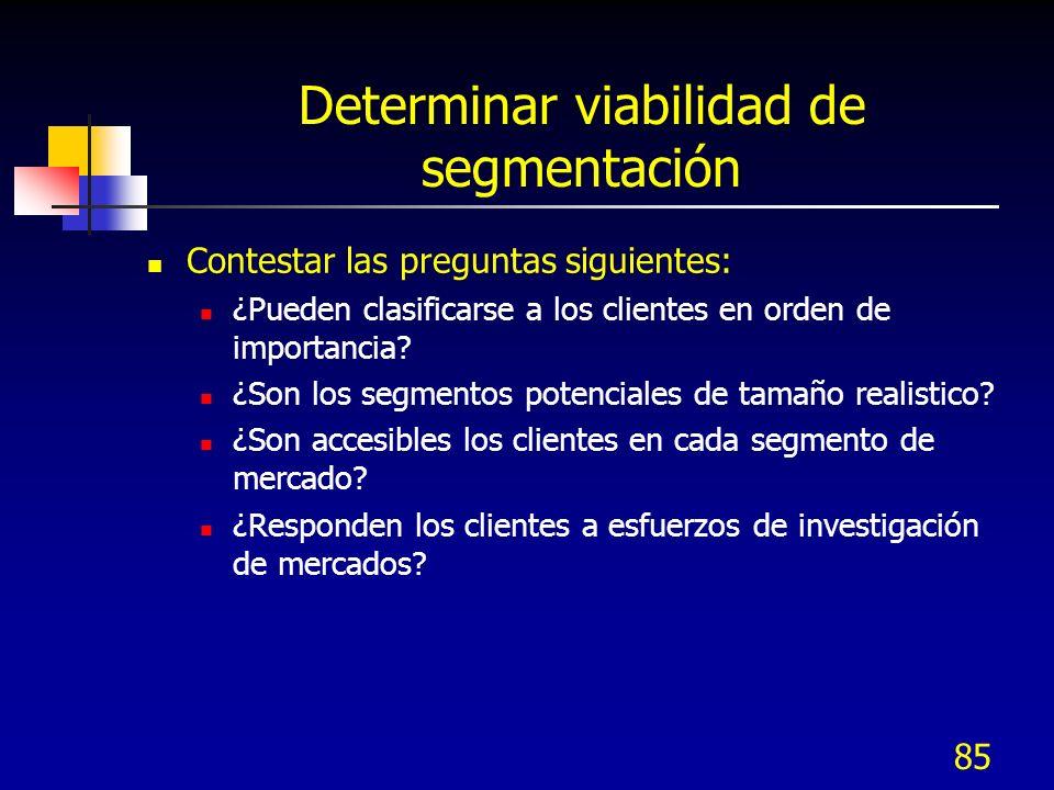 Determinar viabilidad de segmentación