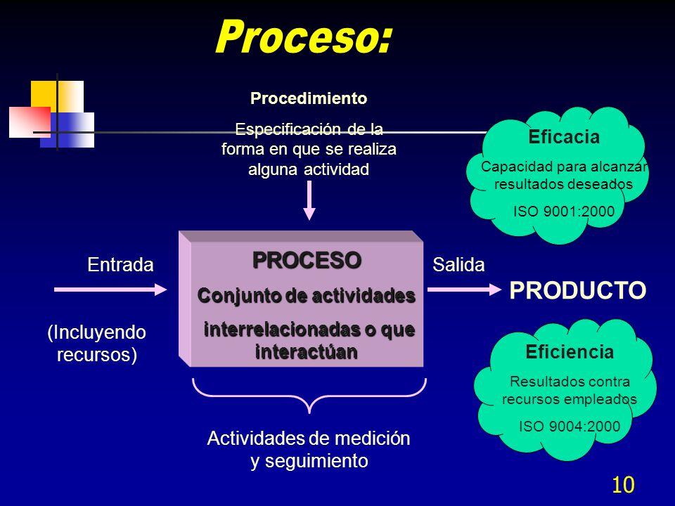Conjunto de actividades interrelacionadas o que interactúan