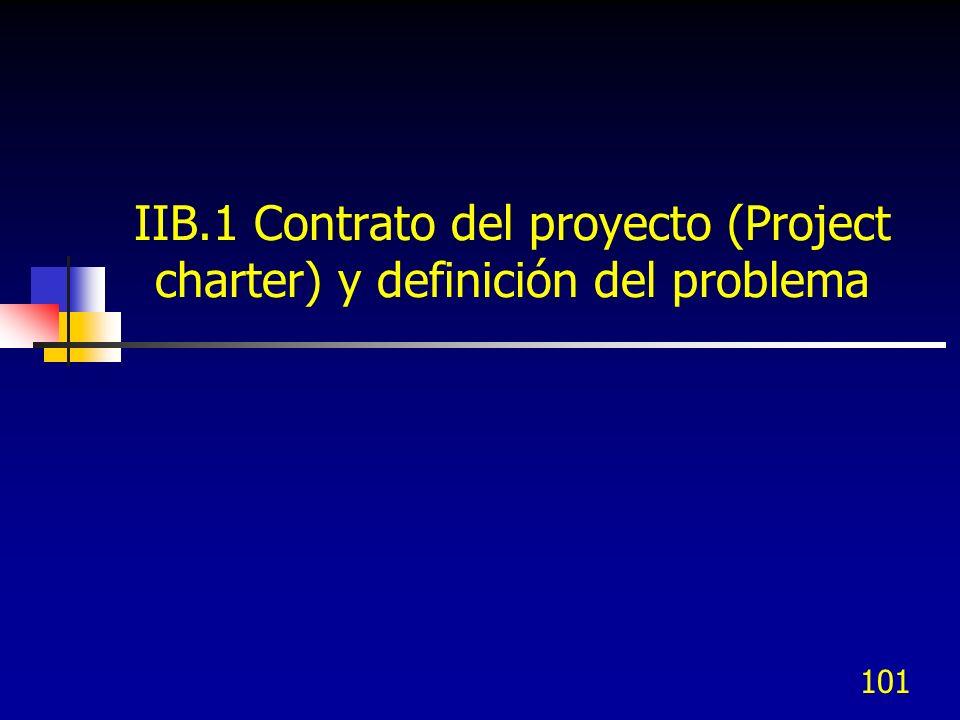 IIB.1 Contrato del proyecto (Project charter) y definición del problema