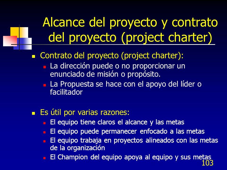 Alcance del proyecto y contrato del proyecto (project charter)