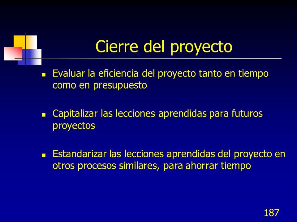 Cierre del proyecto Evaluar la eficiencia del proyecto tanto en tiempo como en presupuesto.