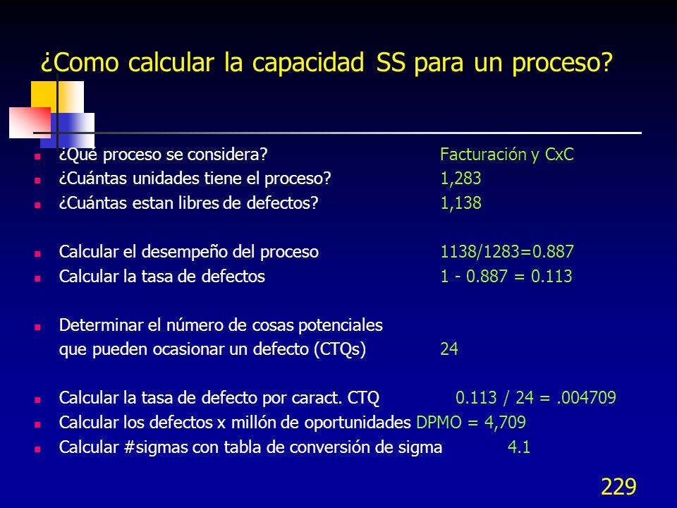 ¿Como calcular la capacidad SS para un proceso