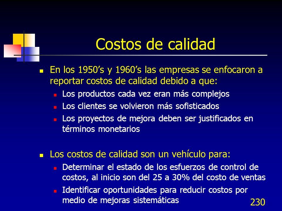Costos de calidad En los 1950's y 1960's las empresas se enfocaron a reportar costos de calidad debido a que: