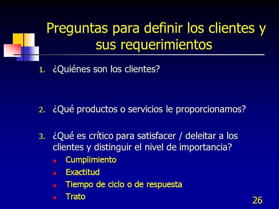 Preguntas para definir los clientes y sus requerimientos