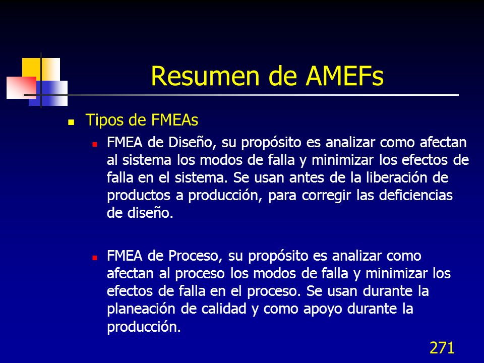 Resumen de AMEFs Tipos de FMEAs
