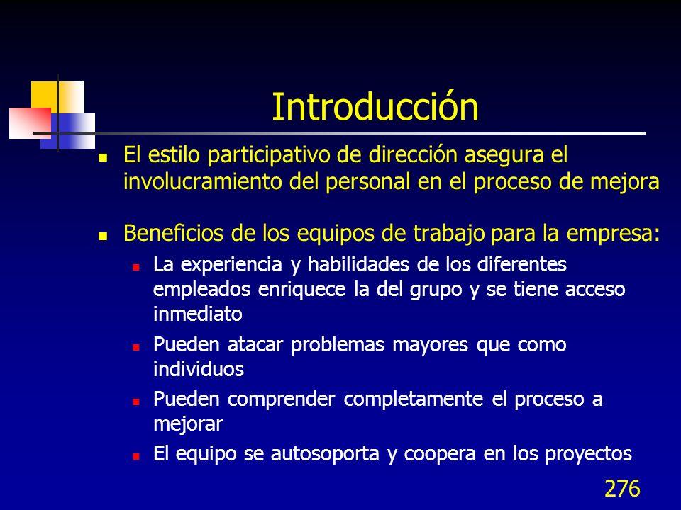 Introducción El estilo participativo de dirección asegura el involucramiento del personal en el proceso de mejora.