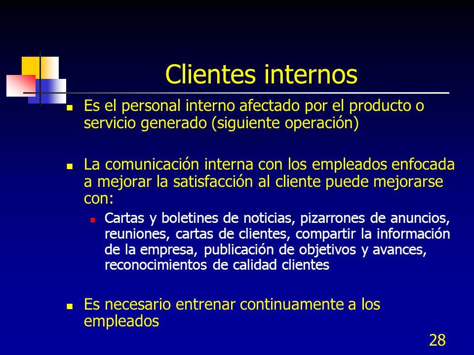 Clientes internos Es el personal interno afectado por el producto o servicio generado (siguiente operación)