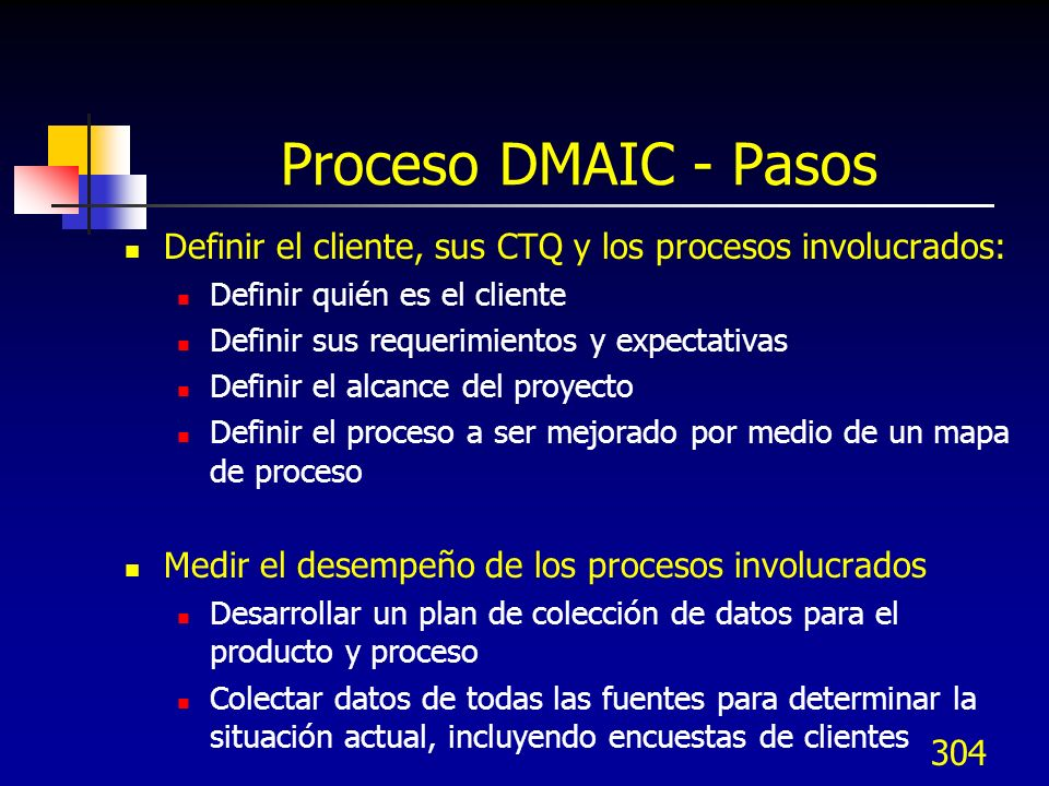 Proceso DMAIC - PasosDefinir el cliente, sus CTQ y los procesos involucrados: Definir quién es el cliente.
