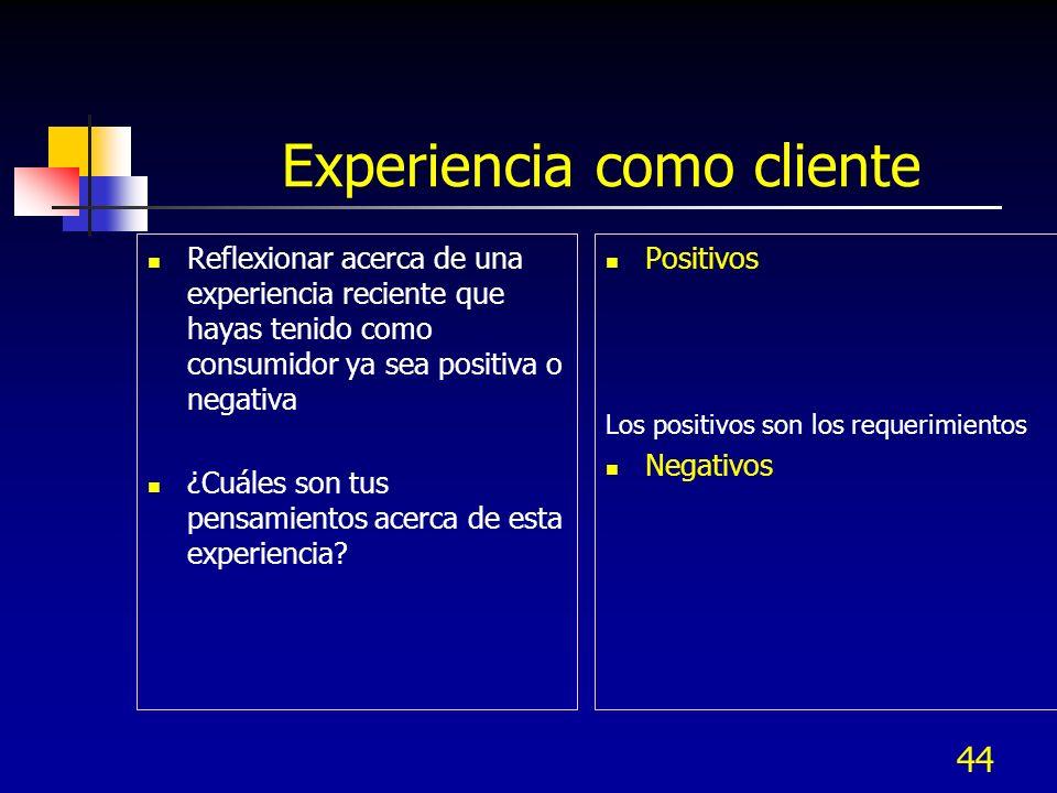 Experiencia como cliente