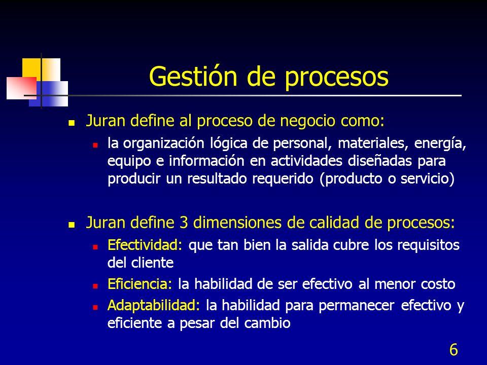 Gestión de procesos Juran define al proceso de negocio como: