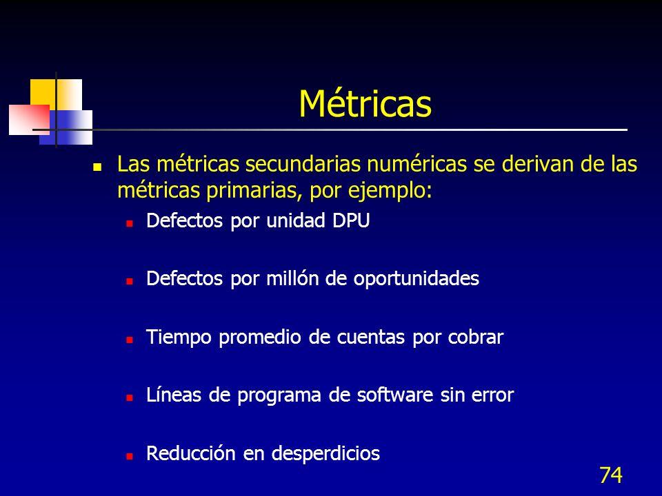 Métricas Las métricas secundarias numéricas se derivan de las métricas primarias, por ejemplo: Defectos por unidad DPU.