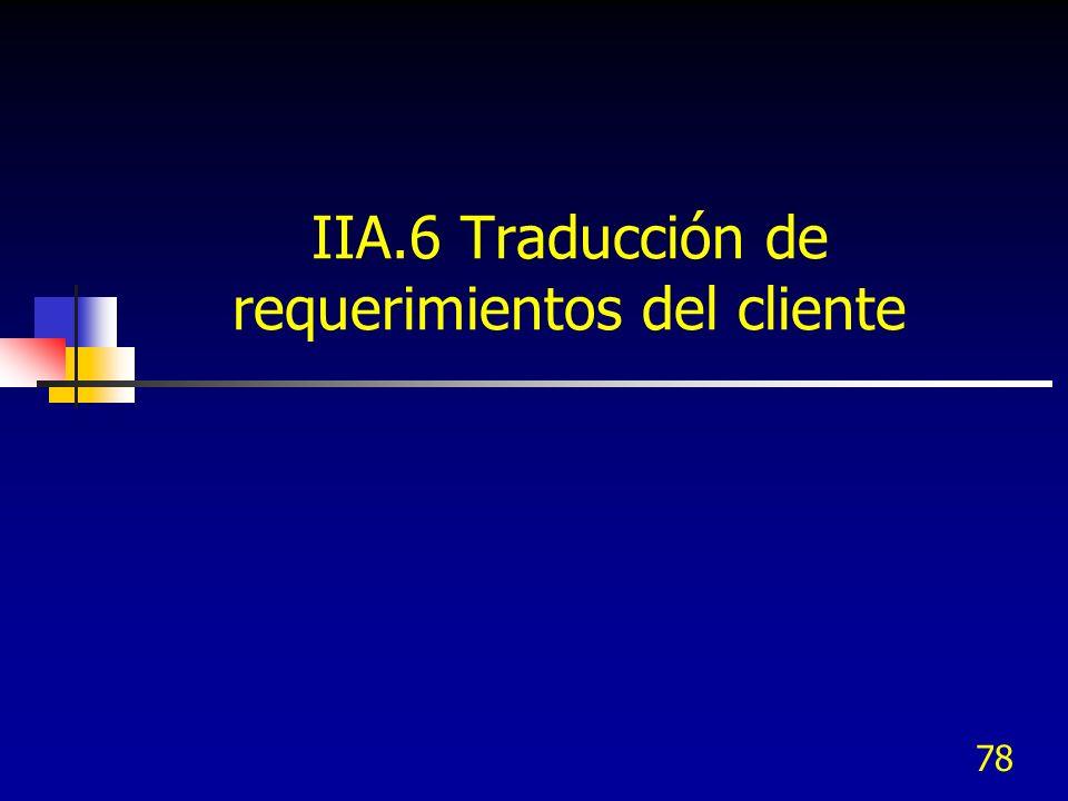 IIA.6 Traducción de requerimientos del cliente