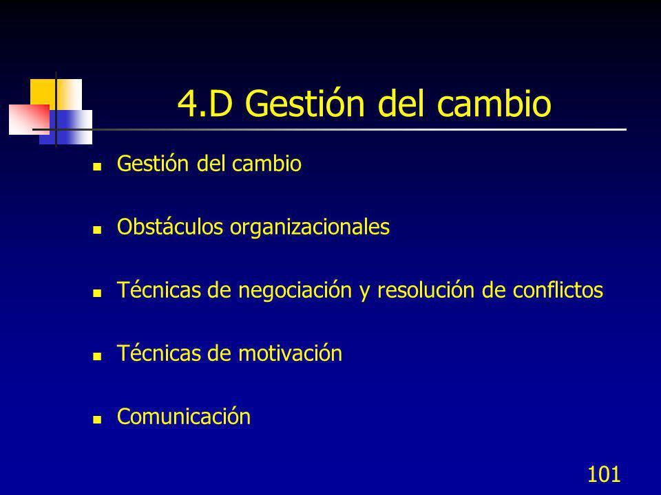 4.D Gestión del cambio Gestión del cambio Obstáculos organizacionales