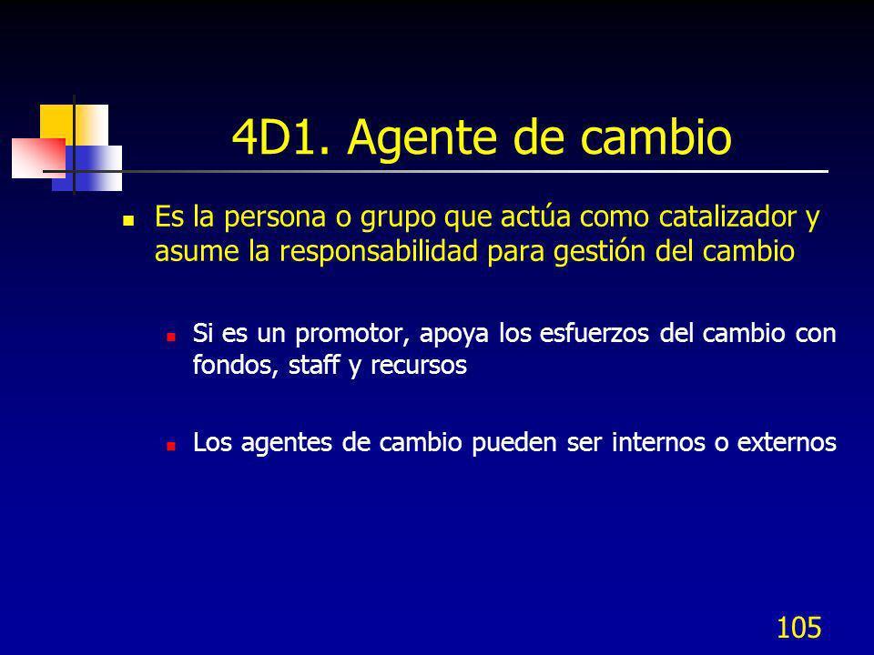 4D1. Agente de cambio Es la persona o grupo que actúa como catalizador y asume la responsabilidad para gestión del cambio.