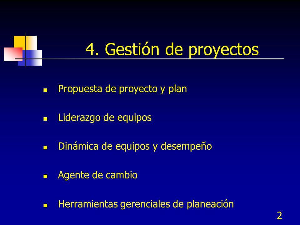 4. Gestión de proyectos Propuesta de proyecto y plan