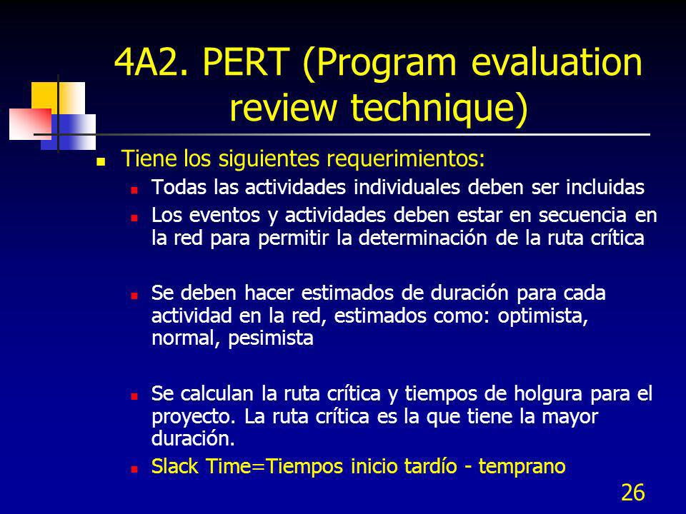 4A2. PERT (Program evaluation review technique)