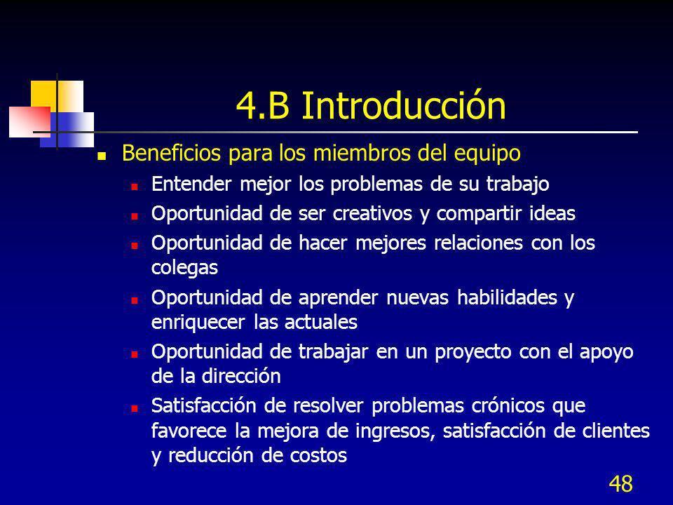4.B Introducción Beneficios para los miembros del equipo