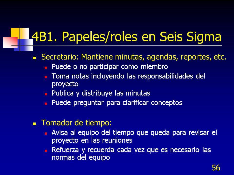 4B1. Papeles/roles en Seis Sigma