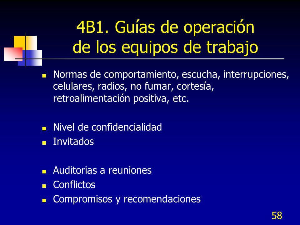 4B1. Guías de operación de los equipos de trabajo
