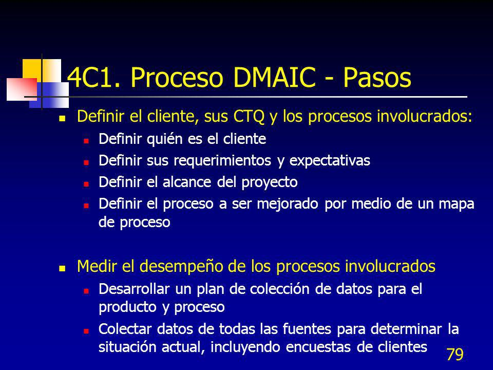 4C1. Proceso DMAIC - Pasos Definir el cliente, sus CTQ y los procesos involucrados: Definir quién es el cliente.