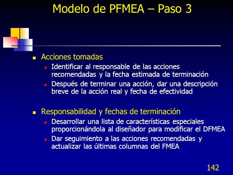 Modelo de PFMEA – Paso 3 Acciones tomadas