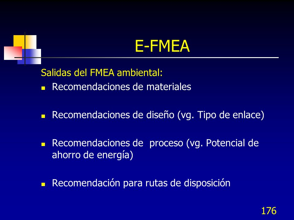 E-FMEA Salidas del FMEA ambiental: Recomendaciones de materiales
