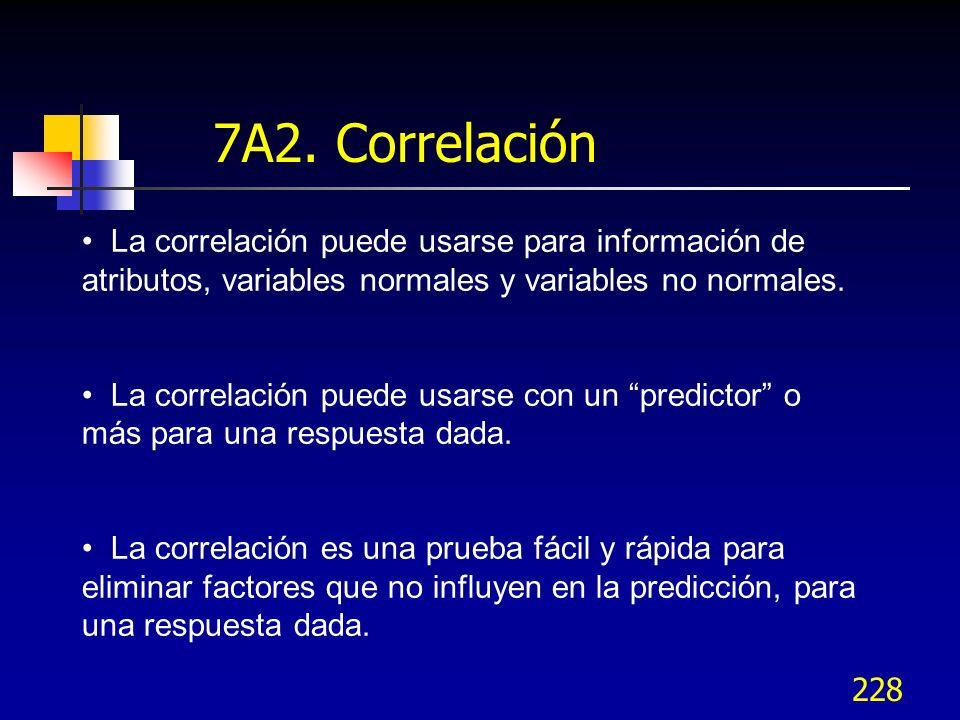 7A2. Correlación La correlación puede usarse para información de atributos, variables normales y variables no normales.